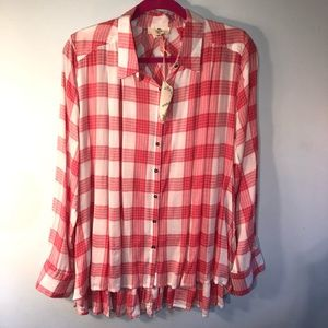 Pink & White Plaid Cotton Overshirt Ruffle Hem